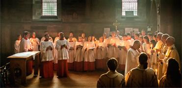 Choir & servers singing introit for festal mass.